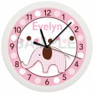 Personalized Pink Elephant Nursery Wall Clock