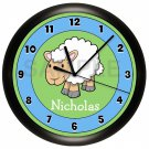 Personalized Sheep Nursery Wall Clock