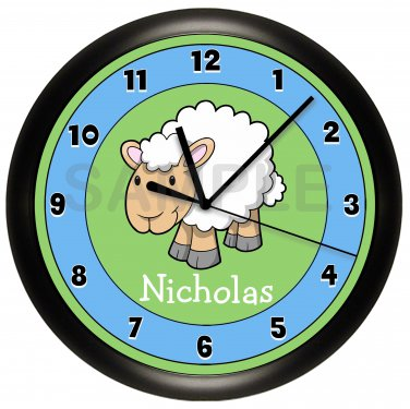 Personalized Sheep Nursery Wall Clock