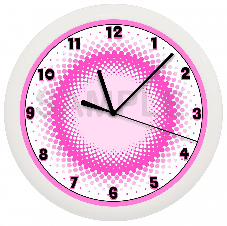 Pink and White Circles Wall Clock