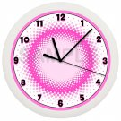 Pink and White Circles Wall Clock