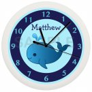 Personalized Blue Whale Kids Bathroom Wall Clock