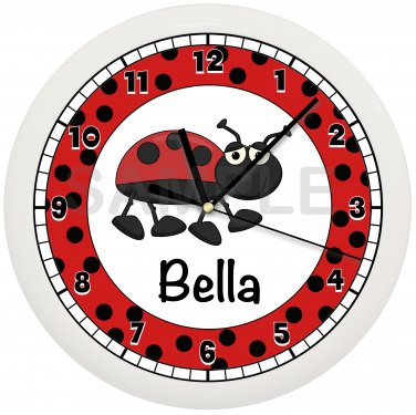 Personalized Ladybug Nursery Wall Clock Girl's Bedroom
