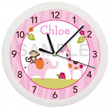 Personalized Sweet Safari Pink Jungle Wall Clock