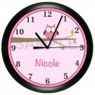 Personalized Pink Owls Nursery Wall Clock