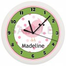 Pink and Green Song Bird Nursery Wall Clock