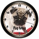 Personalized Pug Wall Clock Pet Vet Pup Art