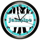 Personalized Teal Zebra Print Wall Clock