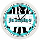 Teal Zebra Print Wall Clock