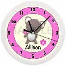 Personalized Pink Koala Bear Wall Clock