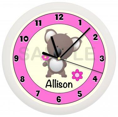 Personalized Pink Koala Bear Wall Clock