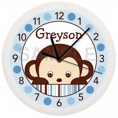 Personalized Blue Mod Monkey Nursery Wall Clock
