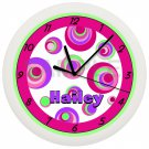 PINK and PURPLE CIRCLES WALL CLOCK