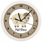 Personalized Sheep Lamb Nursery Wall Clock