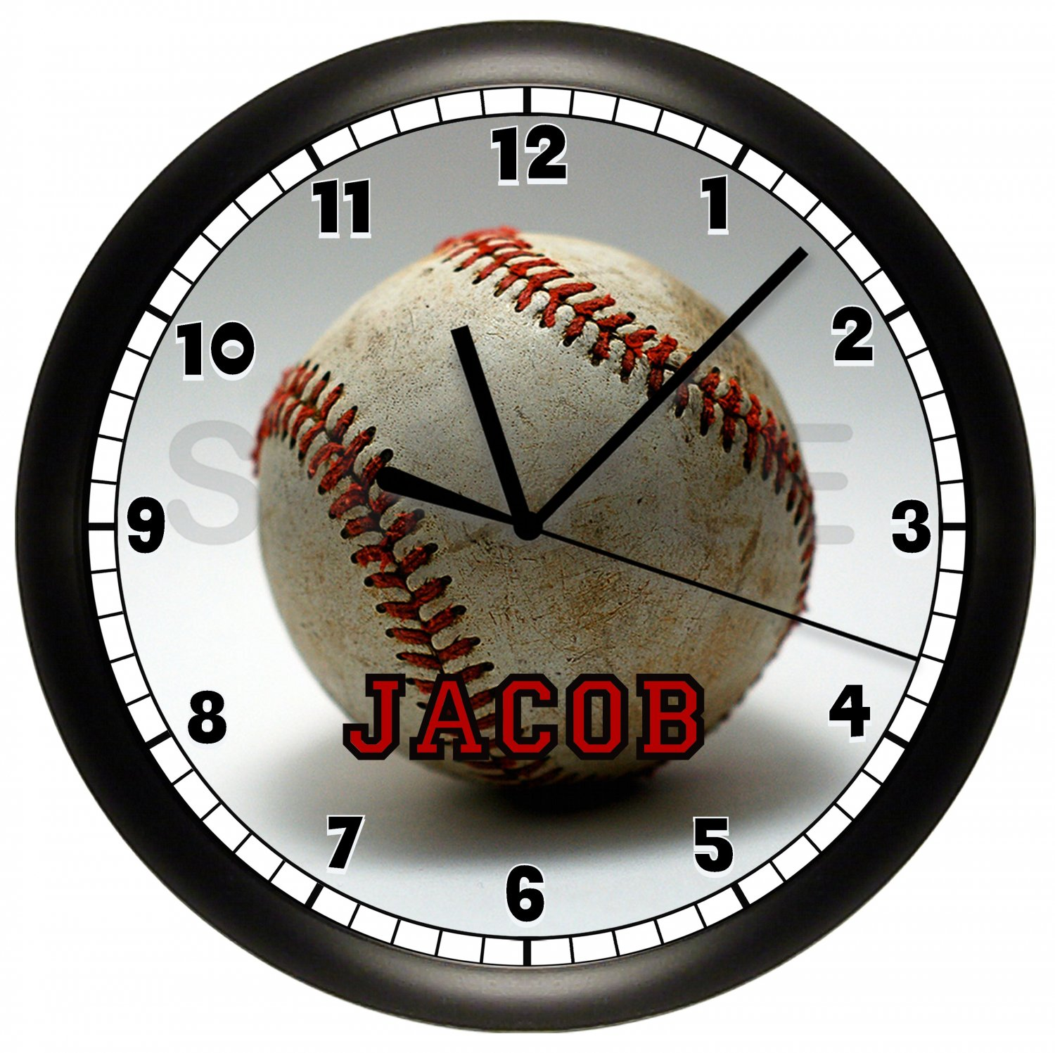 baseball personalized wall clock. Black Bedroom Furniture Sets. Home Design Ideas