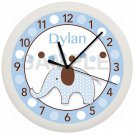 Personalized Blue Elephant Nursery Wall Clock