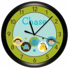 Personalized Dot Safari Jungle Nursery Wall Clock