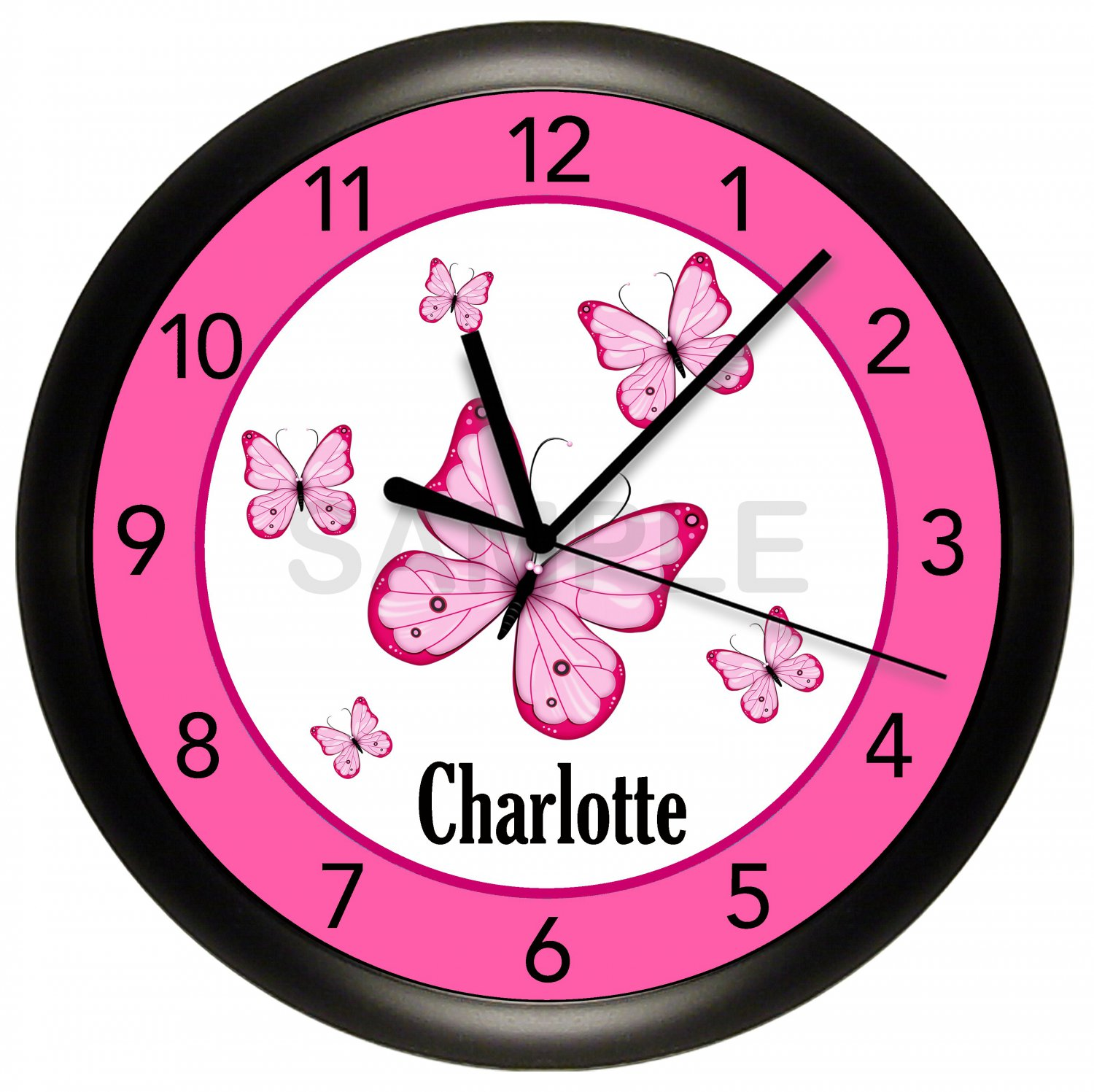 Butterfly Pink Wall Clock