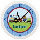 Personalized Blue Red Green Choo Choo Train Nursery Wall Clock