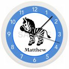 Blue and Black Zebra Nursery Wall Clock Personalized