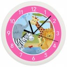 Safari Animal Nursery Wall Clock Children's Bedroom Art Decor