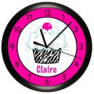 Personalized Hot Pink and Black Zebra Cupcake Wall Clock