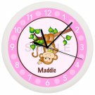 Personalized Blue Monkey Nursery Wall Clock