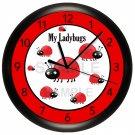 Ladybug Wall Clock Nursery Children's Bedroom