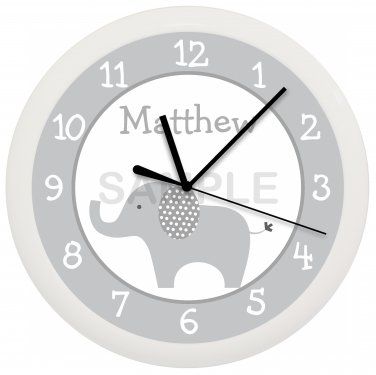 Personalized Gray Elephant Nursery Wall Clock