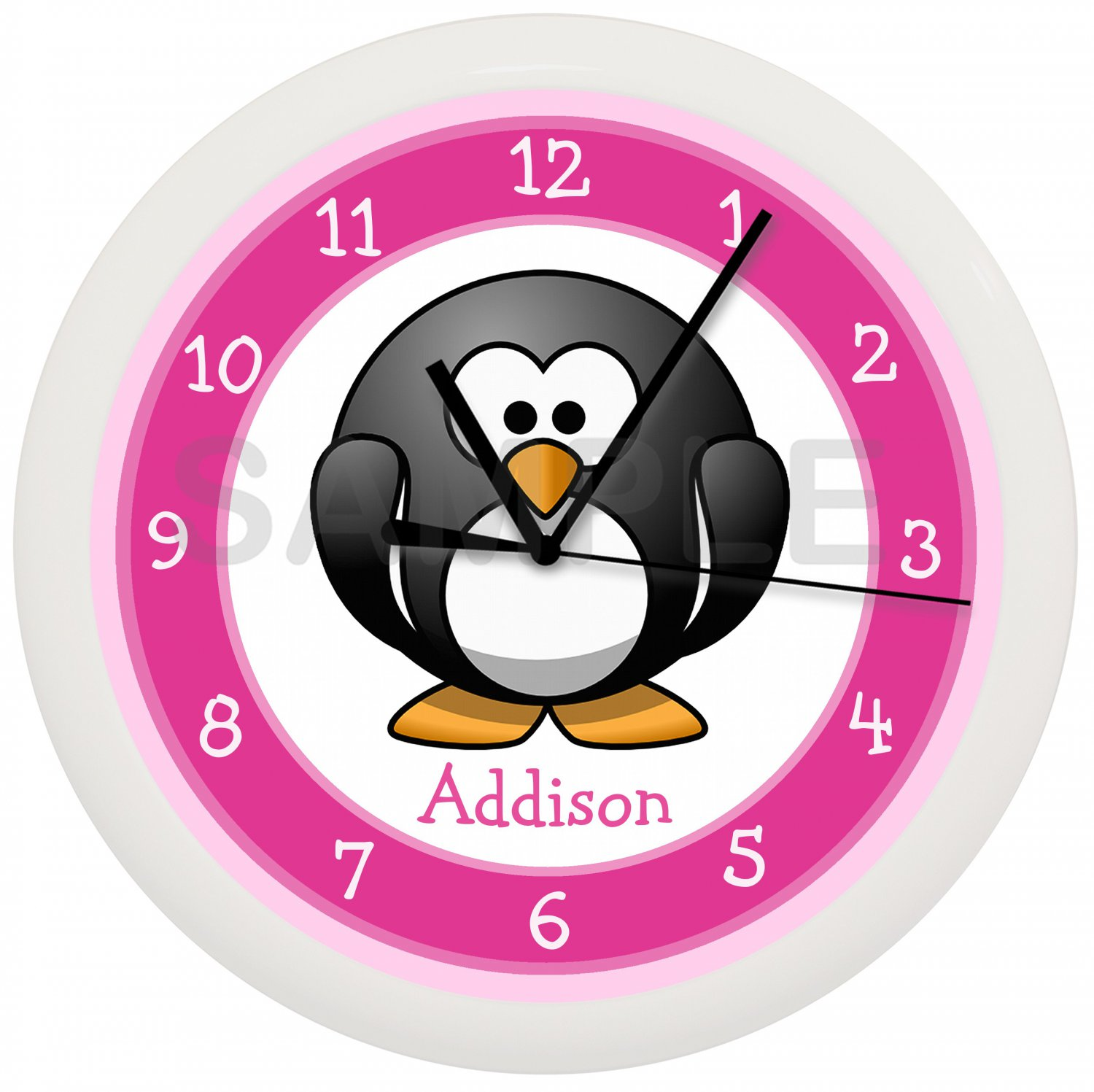 Pink Penguin Wall Clock