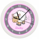 Personalized Pink Sheep Nursery Wall Clock