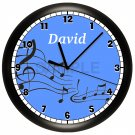 Personalized Blue Music Notes Wall Clock