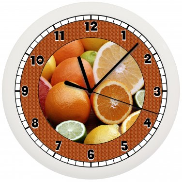 ORANGES FRUIT WALL CLOCK CUTE GIFT ART DECOR ROOM KITCHEN FOOD