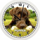 Personalized Chocolate Labrador Wall Clock Lab Dog