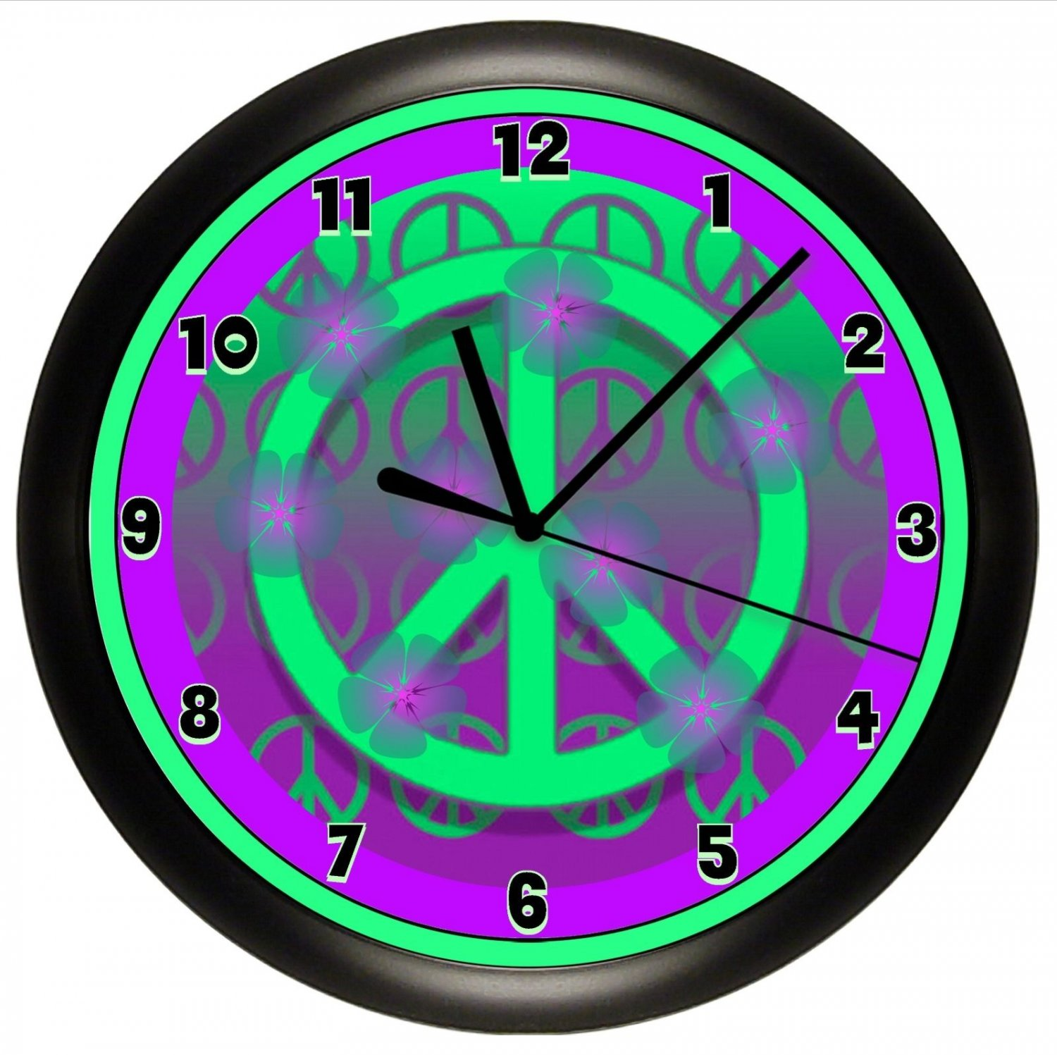 PURPLE PEACE SIGN WALL CLOCK DORM OFFICE GIFT DECOR GIRL BEDROOM DECOR  TEENAGER