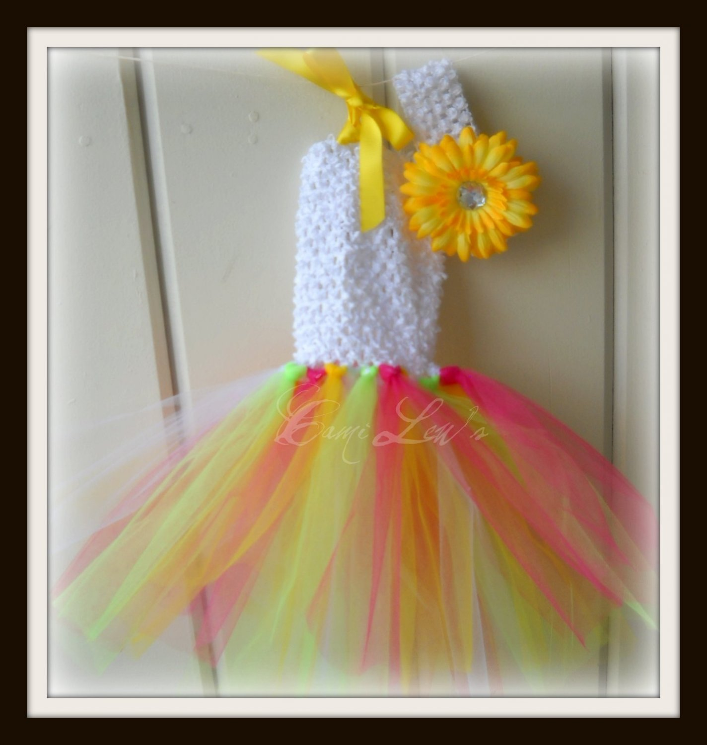 multi color tutu haulter dress with matching flower clip and band