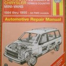 Haynes Automotive Repair Manual for Dodge Plymouth Chrysler mini vans