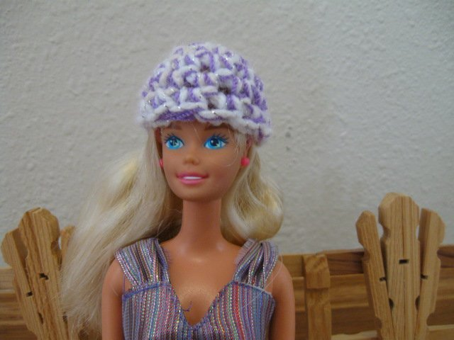 Purple and White Hat and Purse for Barbie