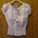 FADED GLORY peasant top NEW w/ tag White background w/ pink roses  & green leaves print. Size 7/8