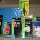 School Supplies: NEW folders, pencils, pens, colored pencils, ruler, scissors, erasers & book cover