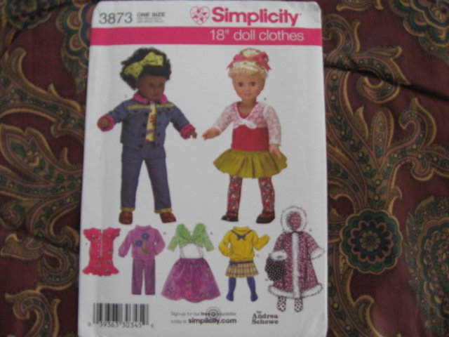 """Simplicity 3873 American Girl 18"""" Doll clothes pattern DISCONTINUED  NEW in envelope"""