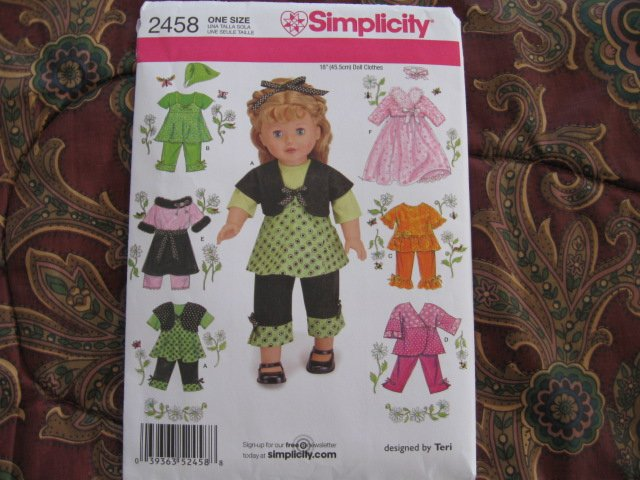 Simplicity 2458 American Girl 18 Doll Clothes Sewing Pattern