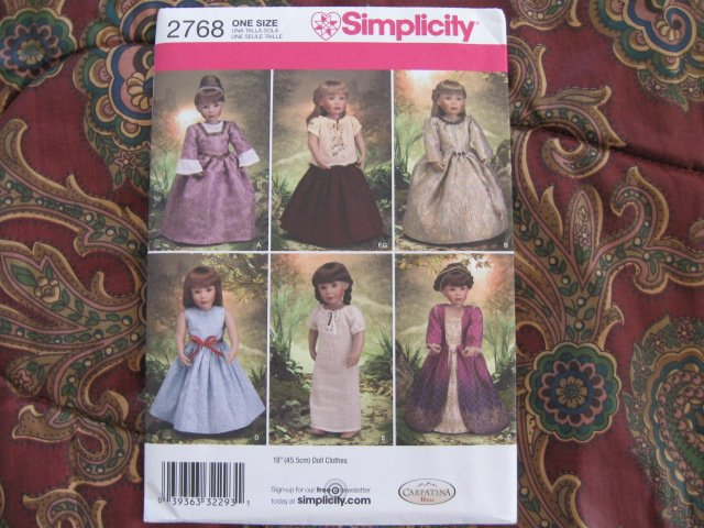 "Simplicity 2768 American Girl 18"" Doll clothes pattern   NEW Renassiance Royalty & Peasant, Eqyptian"