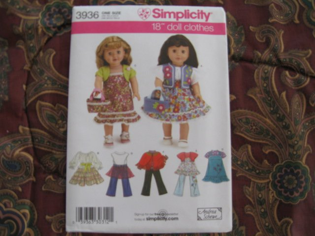 """SIMPLICITY 3936 AMERICAN GIRL 18"""" DOLL CLOTHES PATTERN DRESS SHRUG TIERED SKIRT  NEW"""