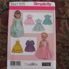 "Simplicity 3547 American Girl 18"" Doll clothes pattern NEW PARTY DRESSES, BOLERO"