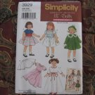 "Simplicity 3929 American Girl 18"" Doll clothes pattern   NEW in envelope"