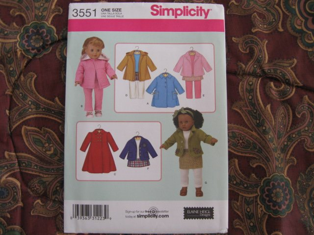 """SIMPLICITY # 3551 AMERICAN GIRL 18"""" DOLL CLOTHES PATTERN COATS NEW"""