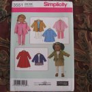 "Simplicity 3551 American Girl 18"" Doll clothes pattern NEW in envelope COATS"