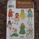 "Simplicity 4347 American Girl 18"" Doll clothes pattern   NEW in envelope"