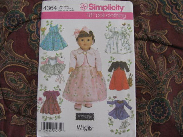 "SIMPLICITY 4364 AMERICAN GIRL 18"" DOLL CLOTHES PATTERN NEW in envelope DRESS, BOLERO, ICE SKATING"